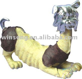 Promotion gift polyresin silvery plated dog figurines