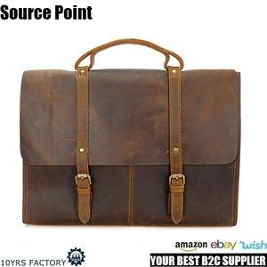 YD-8131 Top grain Italian handmade crazy horse leather laptop briefcase messenger bag for men