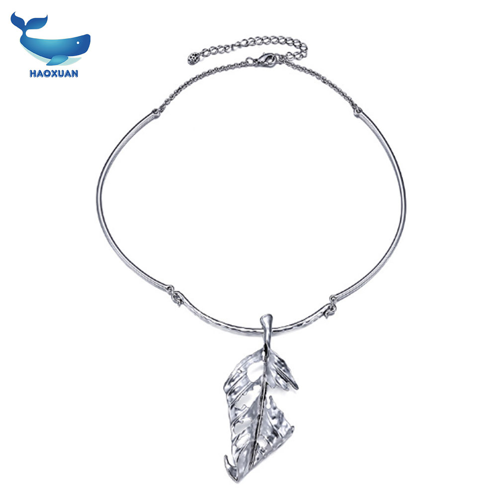 European and American simple alloy personality Leaves necklace