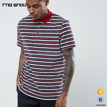Cheap men retro striped polo tshirt relaxed fit short sleeve t-shirts