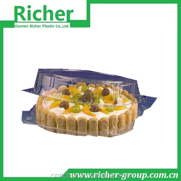 disposable plastic round cake packing container with lid