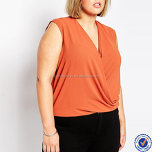 clothing manufacturers plus size women clothing wholesale curve sleeveless drape wrap plus size blouses