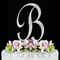 Silver Rhinestone French Font Cake Topper Large Letter B