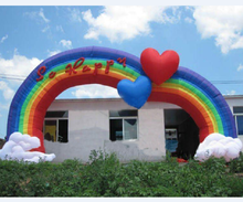 high quality inflatable logo printed promotional rainbow archway