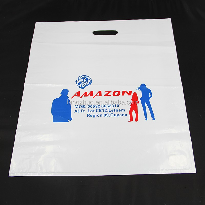 24*35cm 2017 china manufacture Alibaba wholesale custom printing waterproof plastic die cut HDPE handle shopping bag