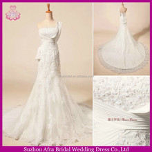 SW830 one shoulder high quality sheath appliqued saudi arabian wedding dress