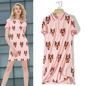 Wholesale ladies high quality Polo collar short sleeve dress dog cartoon printed t shirt dress
