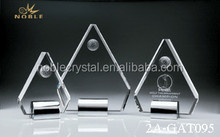 Cheap Blank Custom Made Crystal Pentagon Trophy With Golf Ball
