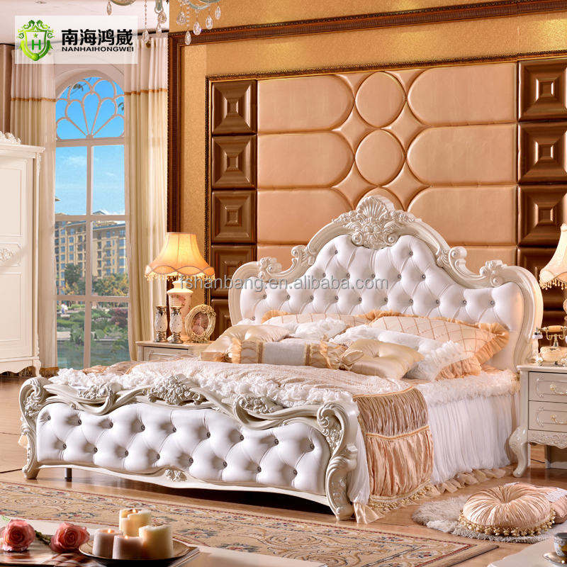 Modern Luxury Royal French Baroque Rococo Style King Queen Size Cream White Buttoned Diamond Leather Headboard Diamond Queen <strong>Bed</strong>
