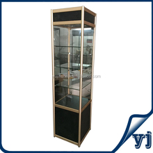 Best Selling Glass Tower Showcase/ Titanium Glass Display Case