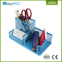 EasyPAG blue mesh desk accessories organizer office supplies caddy with pen holder