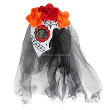 Women lady black lace flower veil Halloween party fabric EVA printing face mask