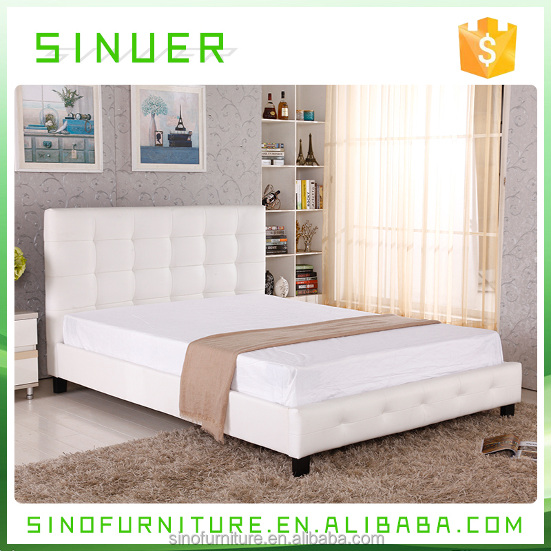Indonesian wooden queen size white leather platform day bed frame