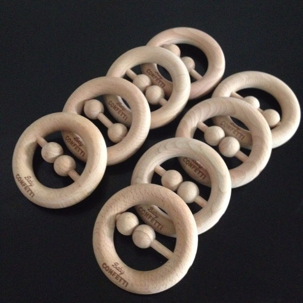 Organic Wood Baby Rattles,Unfinished Wood Teething Ring Rattle Baby Toys