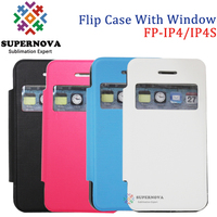 Sublimation Leather Flip Cell Phone Case for iPhone 4 4S with Open Window