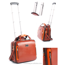 "PU 15.6""travel laptop trolley bag for man"