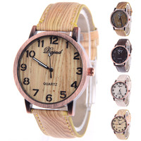 2015 newest design wholesale Wood watch custom logo Quartz watch fashion leather ladies wrist watch