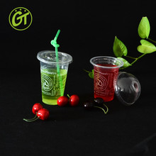 12oz disposable smoothie plastic cups with flat lids
