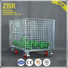 Industrial stackable square steel wire mesh storage container