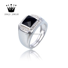 925 Sterling Silver Main Material Wide Board Band Rings Adjustable Square Onyx Stone Men Design