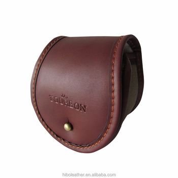 Tourbon Canvas Leather Fly Fishing Reel Case Light Weight Fishing Bag