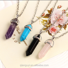 Wholesale Natural Semi-precious Stone Jewelry Healing Crystal Gemstone Natural Clear Quartz Chakra Point Pendant