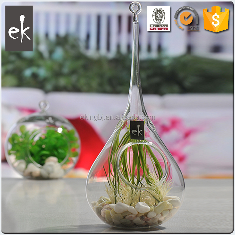 High quality and beautiful design hanging glass vase glass terrarium plants vase