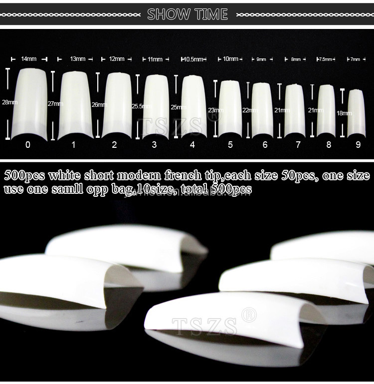 beautiful new product white short modern half cover french Artificial false nail Tips