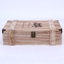 solid wood double wine bottles box packing