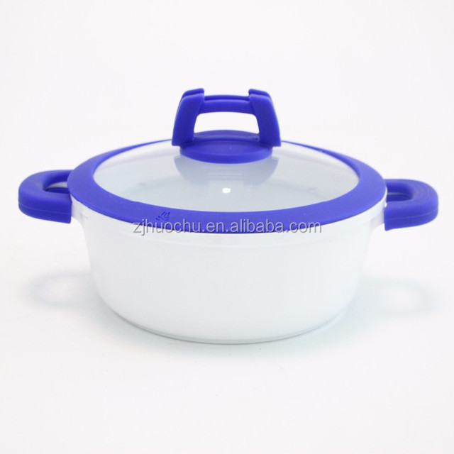Manufactory Selling with Silicon handle Easy Cooking Die-casting Die cast Aluminum Ceramic cookware casserole stock pot