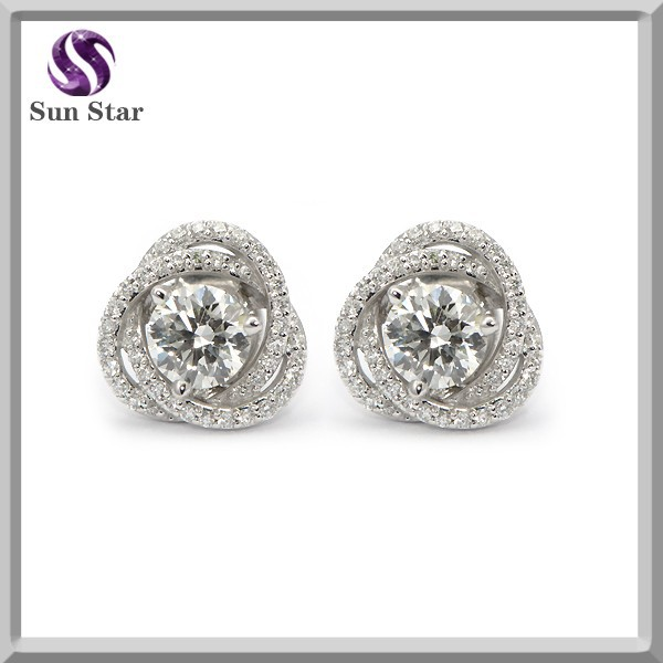 925 Sterling Silver Twisted Flower Dazzling Diamond Earrings Stud