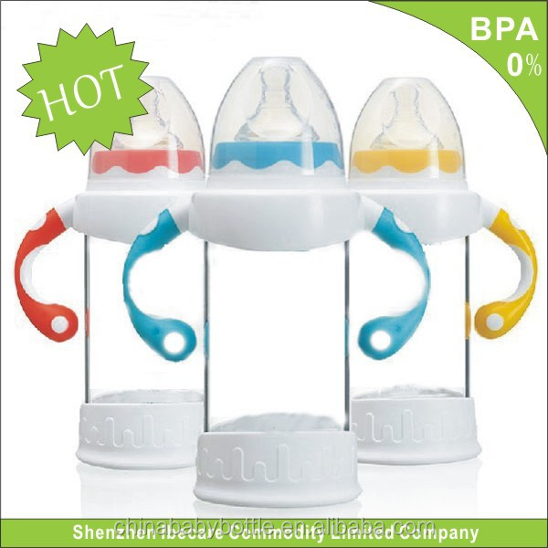 IBECARE Norm-caliber OEM silicone base high borosilicate glass baby bottle baby bottle clamp