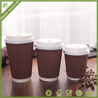 2016 Luxury Fish Scale Printed High Quality Hot Sale Custom Printed Ripple Wall Paper Coffee Cups with Lid