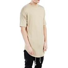 2017 Hot New Products 95% Cotton 5% Elastane T shirt Mens Longline Curved Hem Muscle Fitted Longer Drop T shirt