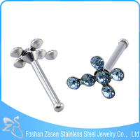stainless steel nose stud colored crystal cross nickel free nose rings