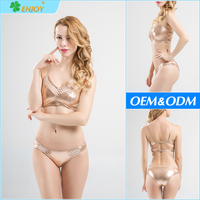 2016 New models spandex fabric gold fashion beautiful hot sex girl bikini