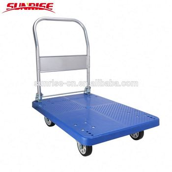 300kgs folding warehouse heavy duty plastic platform hand cart
