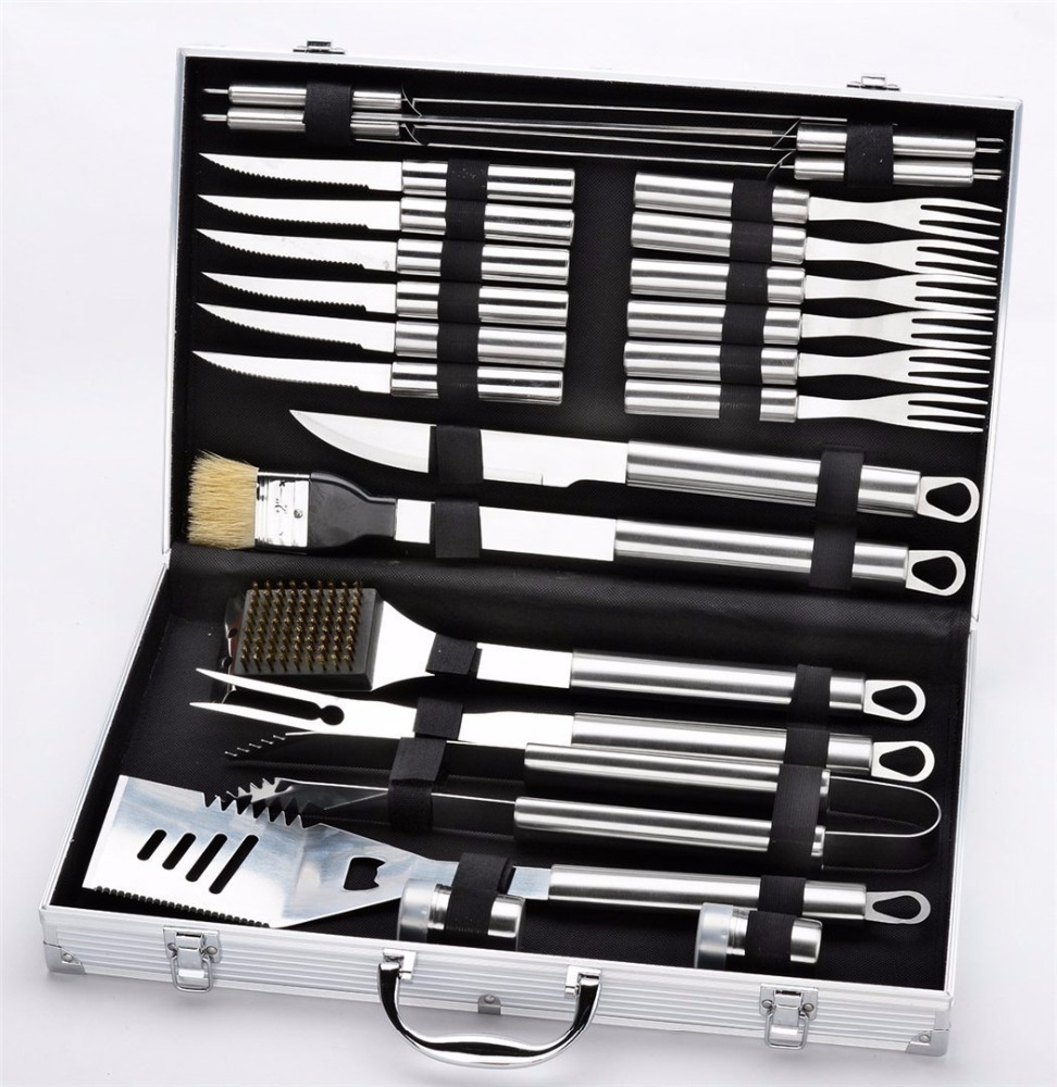 24 Piece Stainless Steel BBQ Accessories Tool Set - Includes Aluminum Storage Case for Barbecue Grill Utensils