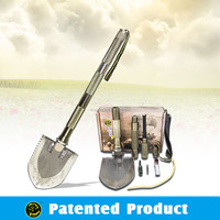 Outdoor Emergency Auto Compact Tool Sets/Aluminum Alloy Spade/Multifunction Shovel with Work LED light