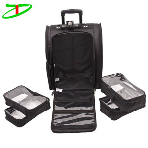 18.5 inch soft sided nylon black wheeled cosmetic rolling bag professional makeup trolley case