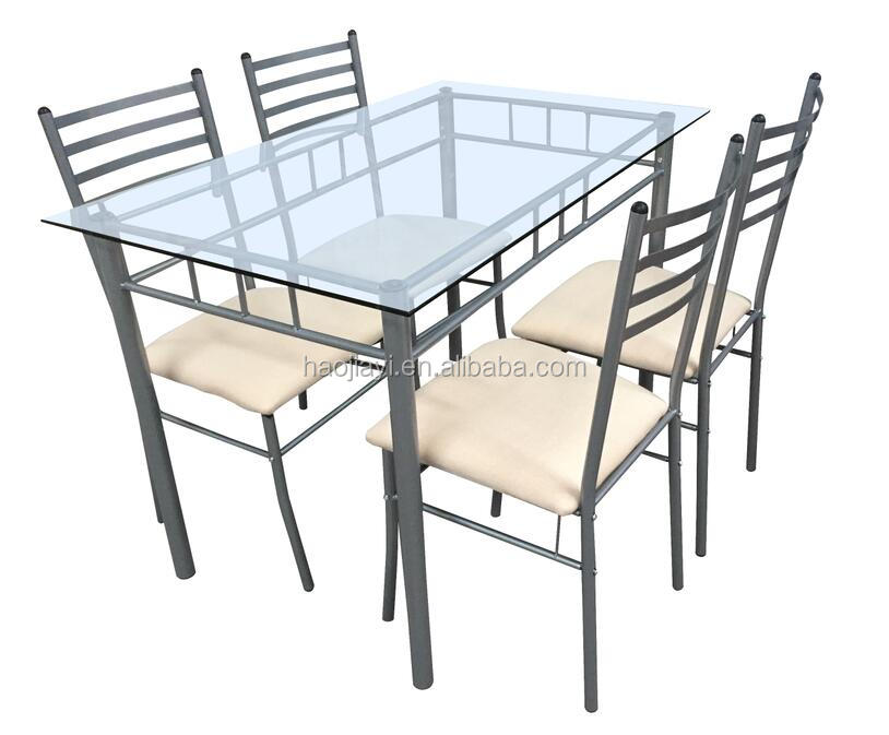 Modern glass dining table set 1 table with 4 chairs metal leg cheap square table set