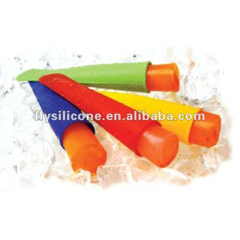 Multi-colored Set of 4 pcs Push-Up Silicone Ice Pop Molds for DIY