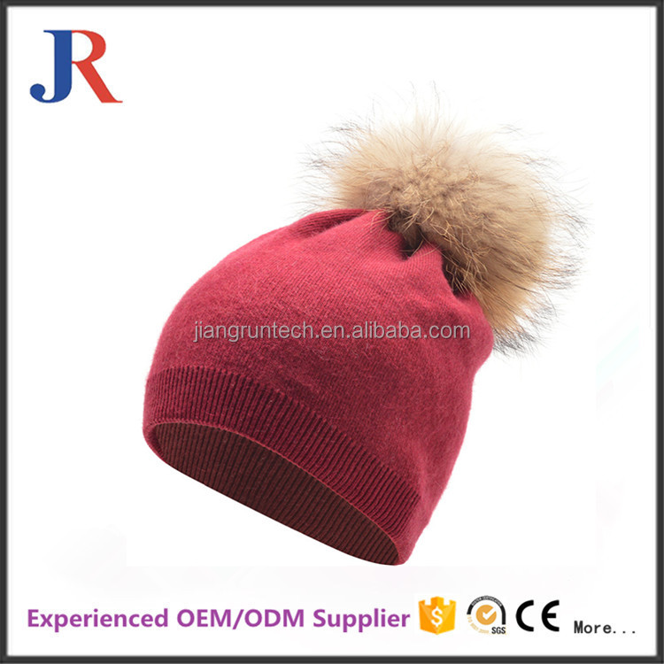 2016 New custom fur bobble hat winter warm pom pom knitted beanie hat for women