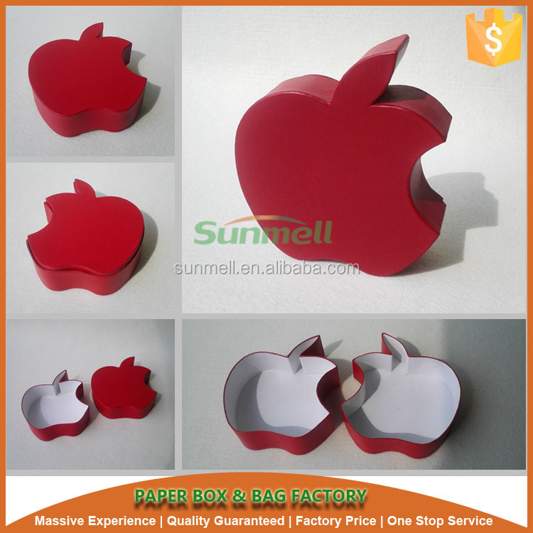 Red apple shape handmade storage paper packaging gift boxes