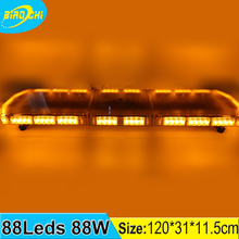 Manufacturer 88W 120CM waterproof roof mount ultra thin led police strobe light bar for small parol boat