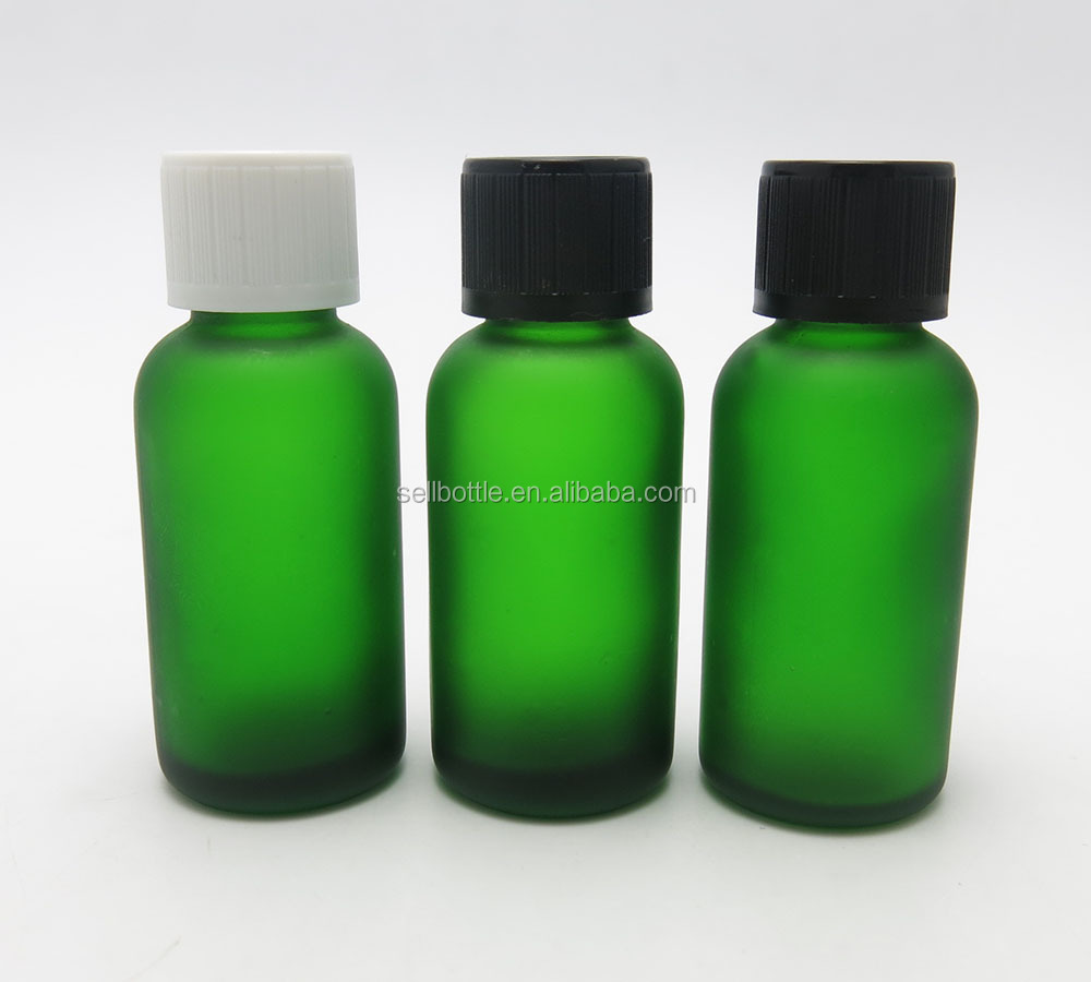 Good quality 30ml empty aromatherapy olive oil green frosted glass bottle