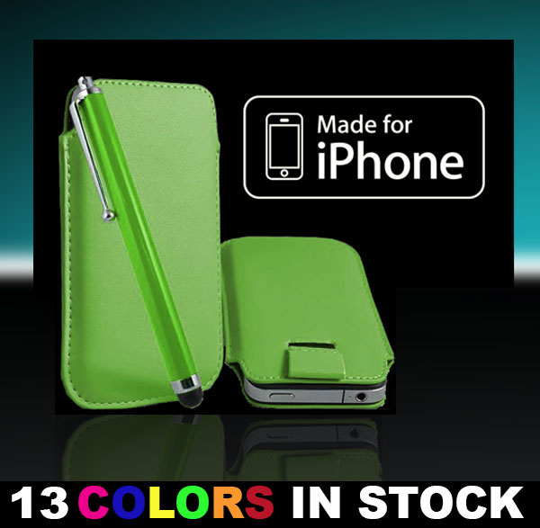 New Leather Case Cover Pouch Sleeve for iPhone 5 5S 5C Color Green