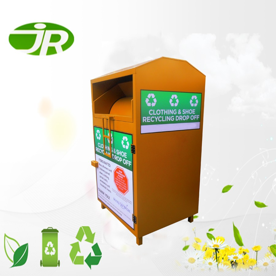 eco clothing donation bins with theft proof chute for street