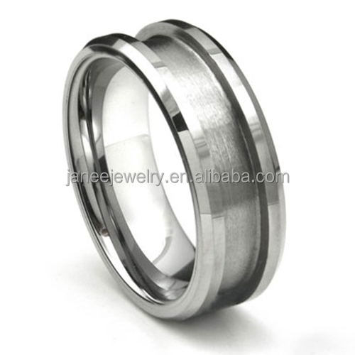 8mm Beveled Edges Recessed Center Grooved Tungsten Rings Blank Ring for Inlay