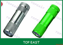 26 x90 mm silver ,green color 9 Led flashlight led torch cheaper price